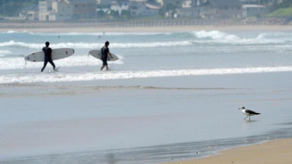 Surfistas na praia de Iwaki, 50 quilômetros ao sul de Fukushima, 24 de agosto de 2013.