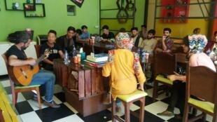 Inside Ikhanoom Cafe in Kabul, Afghanistan