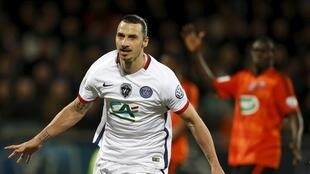 Zlatan Ibrahimovic, lors de la qualification du PSG, pour la finale de la Coupe de France de Football contre Lorient.