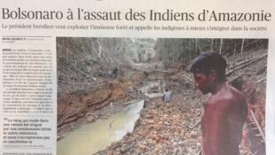 Matéria do jornal Le Figaro desta terça-feira, 11 de fevereiro de 2020, sobre a política do governo para os índios da Amazônia.