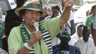 Incumbent President Ellen Johnson Sirleaf on the campaign trail