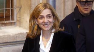 A enfanta Cristina, da Espanha, deixa tribunal após testemunhar, em 8 de fevereiro de 2014.