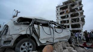 The rubble of Jazeera Palace hotel in Mogadishu, Somalia, following a suicide bomb blast.