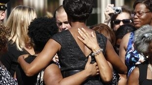 First lady Michelle Obama meets families of the 9/11 victims at the Pentagon Memorial in Washington