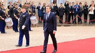 President Emmanuel Macron arrives at the Elysée Palace