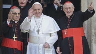 O Papa Francisco no primeiro dia do seu pontificado esta quinta-feira