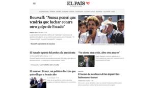 Site do jornal El País estava dominado pela cobertura da crise no Brasil.