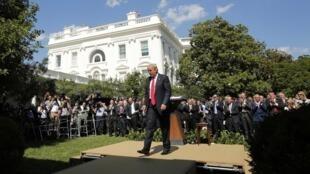 Дональд Трам после объявления о выходе США из Парижского соглашения, 1 июня 2017