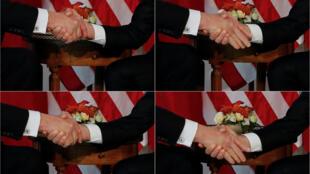 La poignée de mains entre Donald Trump (g) et Emmanuel Macron (d) décortiquée en quatre photos.