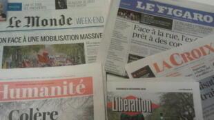 Primeiras páginas dos jornais franceses 06 de dezembro de 2019