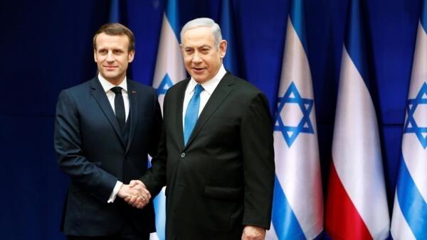 El premier israelí Benjamin Netanyahu con el presidente francés Emmanuel Macron, este 22 de enero de 2020 en Jerusalén.