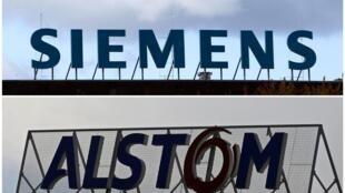 Logótipos da Siemens e da Alstom, cuja fusão foi vetada pela Comissão Europeia a 6/02/2019