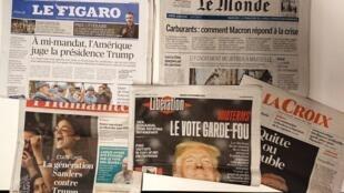 Primeiras páginas dos jornais franceses de 6 de novembro de 2018