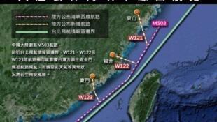 圖為台灣媒體繪製引發爭議M503航線圖