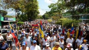 Une manifestation à Caracas le 22 avril 2017 en hommage aux 9 personnes tuées lors de la mobilisaiton des trois semaines précédentes.
