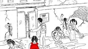 Рисунок из рассказа «Алёна» о том, как таборные дети пошли учиться