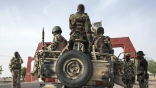 Nigerian soldiers in Maiduguri, Borno State on 25 March 2016.