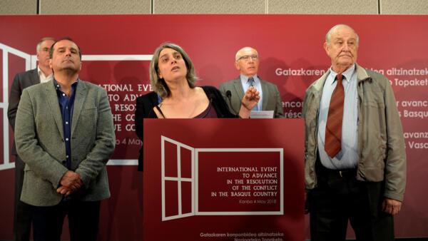 Agus Hernan (Foro Social), Anais Funosas (Bake Bidea) and Raymond Kendall (International Contact Group) at Monday's press conference in Bayonne