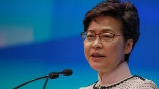 香港特首林郑月娥2019年10月16日在一次记者会上。