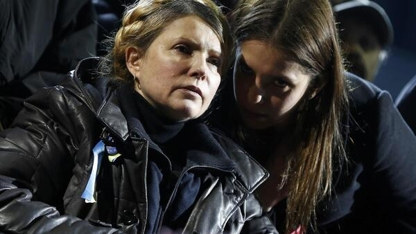 Yulia Tymoshenko and her daughter Eugenia on the stage at Independence Square in Kiev just hours after Tymoshenko's release from jail.
