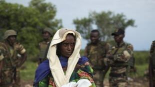 Une femme déplacée à Kaga-Bandoro, Centrafrique.