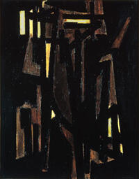 法國超黑抽象畫家比耶•蘇拉日(Pierre Soulages)1950年創作的巨型油畫  蓬皮杜文化中心國家現代藝術博物館