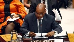 President Jacob Zuma speaks during a Security Council meeting