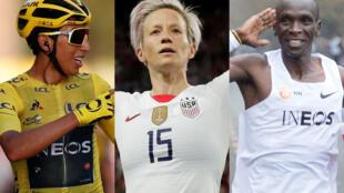 Le cycliste Egan Bernal, la footballeuse Megan Rapinoe et le marathonien Eliud Kipchoge.