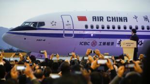 Une cérémonie a marqué la sortie du premier Boeing 737 Max du centre de finitions de Zhoushan, le 15 décembre 2018.