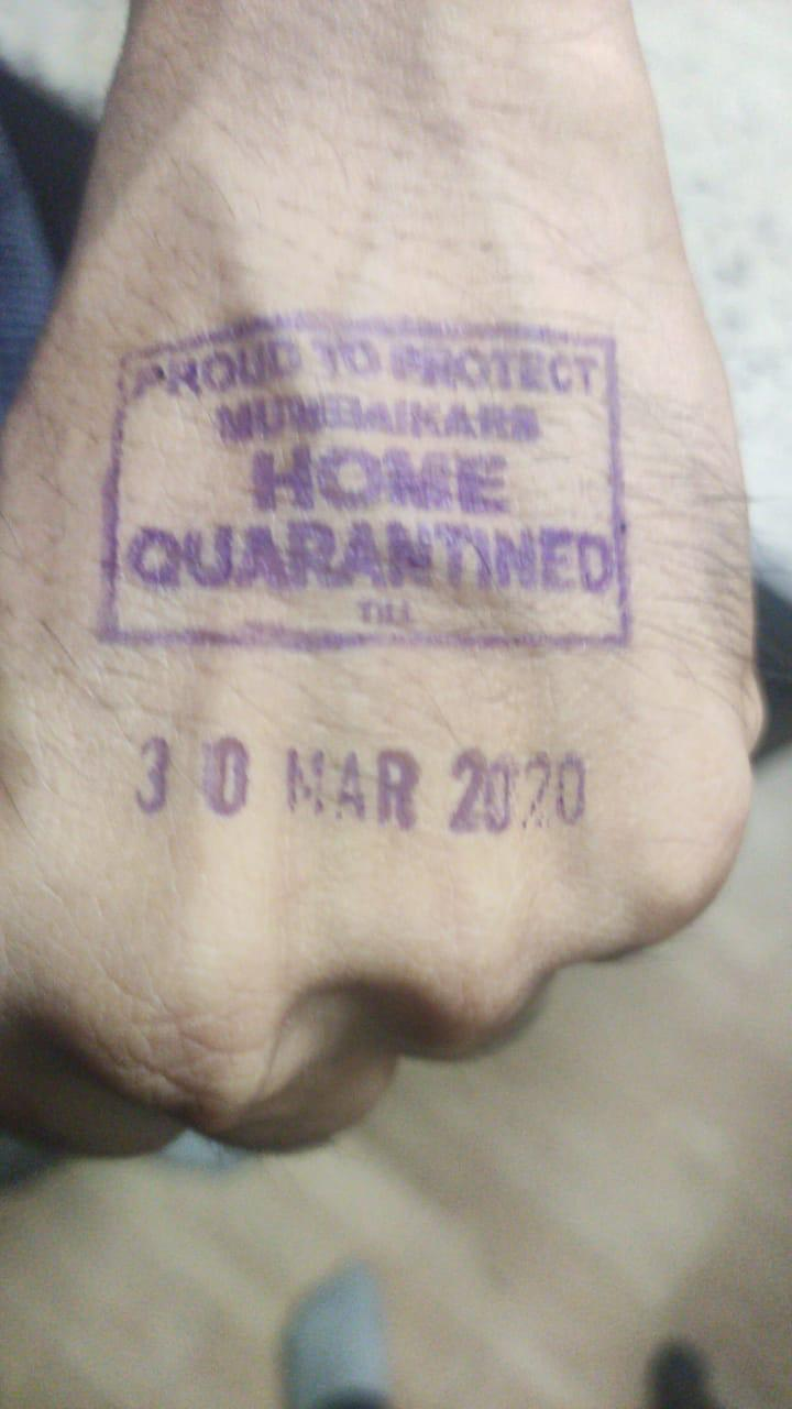 A stamp used for confinement against coronavirus in India, March 2020.