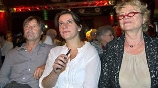 Nicolas Hulot, Green Party leader Cécile Duflot and Eva Joly at a conference in January