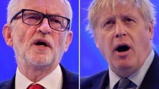O primeiro debate da campanha eleitoral britânica será um duelo entre o trabalhista Jeremy Corbyn (à esquerda) e o premiê Boris Johnson.