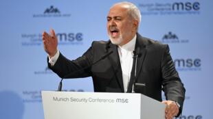 Mohammad Javad Zarif, o cgefe da diplomacia iraniana, em Munique, em 17 de fevereiro de 2019.