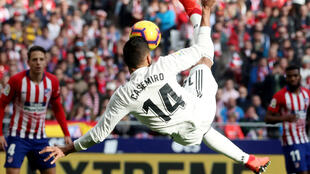 Casemiro scored the first of Real Madrid's three goals at Atletico Madrid.