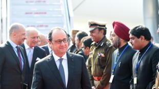 French President François Hollande arrives in Chandigarh on Sunday