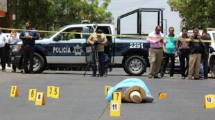 Scène du meurtre du journaliste mexicain Javier Valdez, à Culiacan (État de Sinaloa), au Mexique, en mai 2017.