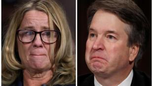 Giảng viên đại học Christine Blasey Ford và ứng viên vào Tòa Án Tối Cao Mỹ Brett Kavanaugh (R) trong phiên điều trần tại Ủy ban Tư pháp Thượng Viện, Washington, ngày 27/09/2018.