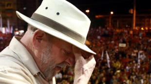 O ex-presidente Lula durante um comício no dia 23 de março, em São Leopoldo.