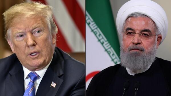 ប្រធានាធិបតីអាមេរិកលោក Donald Trump (រូបឆ្វេង) និងសមភាគីអ៊ីរ៉ង់លោក Hassan Rohani