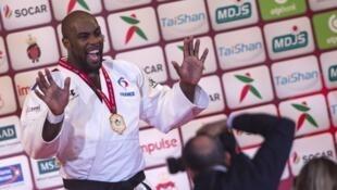 Le Français Teddy Riner à Marrakech lors du championnat du monde de judo toutes catégories.