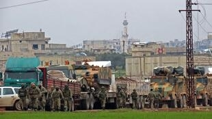 """نظامیان ترک مستقر در شهر """"بنش"""" در شهرستان ادلب، در نزدیکی مرز سوریه و ترکیه. چهارشنبه ٢٣ بهمن/ ١٢ فوریه ٢٠٢٠"""