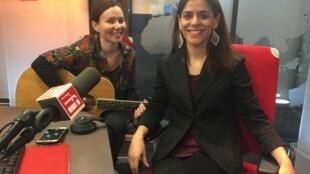 Lizzie e Valérie do Carmo nos estúdios da RFI. 02 de Abril de 2019.
