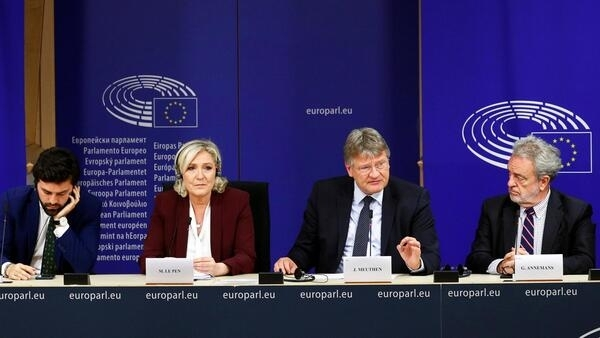Marine Le Pen, surrounded by fellow MEPs, launching a new far right European Parliament group in Brussels, 13 June 2019