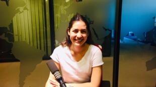 L'écrivaine Line Papin en studio à RFI (juillet 2019).