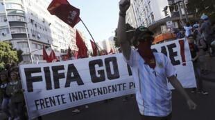 Protesto no Rio de Janeiro no dia do final da Copa, em 13 de Julho.