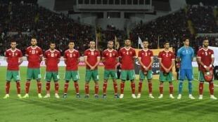 L'équipe du Maroc, le 16 novembre 2018 à Casablanca, face au Cameroun.
