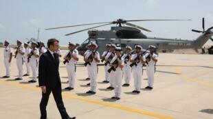 Tổng thống Emmanuel Macron thăm căn cứ quân sự Pháp tại Djibouti ngày 12/03/2019.