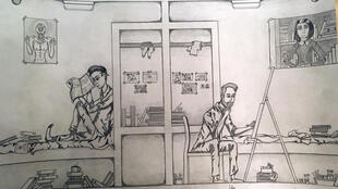 En la Tumba. Dibujo de Gabriel Valles. Foto de Andreína Mujica.