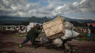Dans le village de Kibumba, dans le Nord-Kivu, à proximité de la frontière entre RDC et Rwanda, le 23 avril dernier.