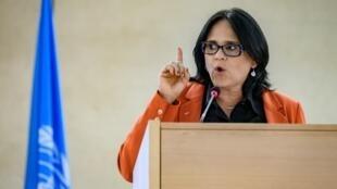 Damares Alves, a ministra da Mulher, da Família e dos Direitos Humanos, em discurso na Organização das Nações Unidas (ONU), em Genebra. 24/02/20